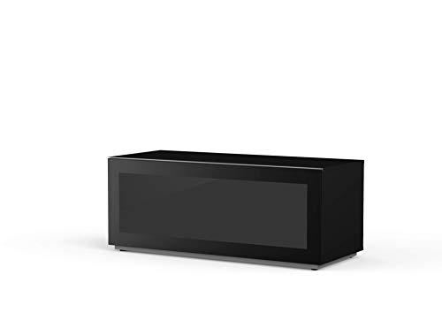 Preisvergleich Produktbild Meloni MyTV Stand 12050F Glass Black,  120x 50 cm,  komplett aus IR Friendly Glas für Soundbar,  gefederte Öffnung mit Gaspistole
