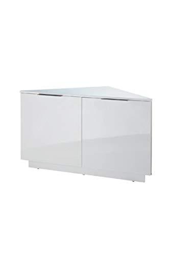 SWAN Meuble TV d'angle contemporain laqué blanc brillant - L 102 cm