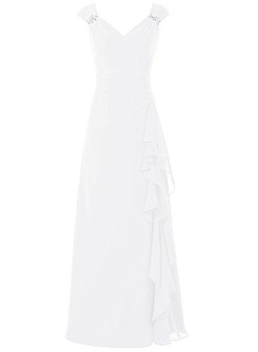 Bbonlinedress Robe de cérémonie Robe de demoiselle d'honneur longueur ras du sol Blanc