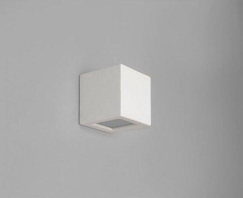 Wandleuchte Gips weiß 1x E27 max. 40Watt 230V Wandlampe Keramik bemalbar Lampe quadratisch Beleuchtung Wohnzimmer Cube -
