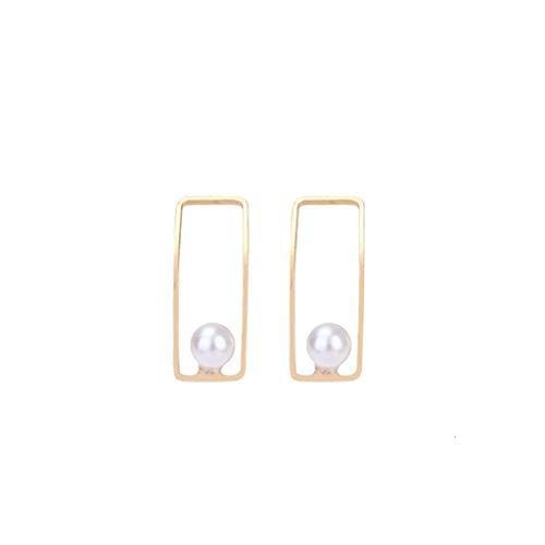 ZYUEER Vintage Elegante Geometrische Halbe Gebogene Perle Rechteckige Ohrringe Damenschmuck -