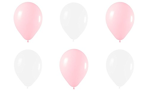 Beyond Dreams® 50 Rosa Weiße Luftballons für Hochzeit Kinderparty Schulanfang Geburtstag Baby Shower Party Deko Babyparty | Latex Party-Ballon Set | Dekoration | Helium oder Luft | Standardgröße