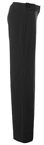 Pelliccia sintetica gamba dritta RINASCIMENTO pantaloni da donna elasticizzati Nero