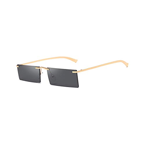 Vikimen Sportbrillen, Angeln Golfbrille,Red Rectangle Sunglasses For Men Rimless NEW Square Sun Glasses For Women Retro Uv400 Gold Green Yellow as show in photo clear yellow