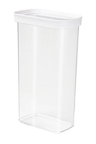 Emsa 515007 Stapelbare Vorratsdose für Trockenvorräte, 100 {6207b66fb756532fbaed4ad50c324ad4e42fde25d689a9b6af11711364c42aca} Keimfrei, Volumen 2.8 Liter, Rechteckig, Weiß/Transparent, Optima
