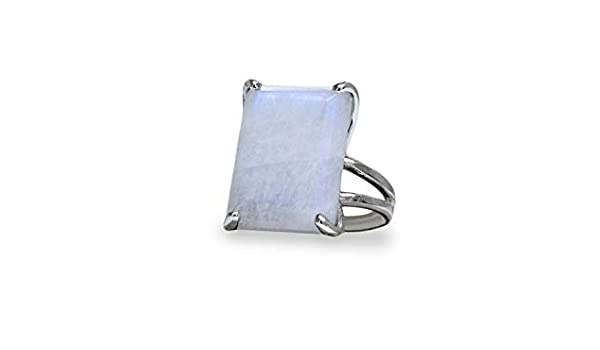 Gift Box Included Anemone Unique Moonstone Jewelry Ring in 925 Sterling Silver Charming June Birthstone Jewelry for Women Sterling Silver Rings Size 3-12.5