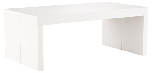 Soliving GENIUS Table Basse Extensible 2 Allonges, Autre, Blanc, 120 x 90 x 35 cm