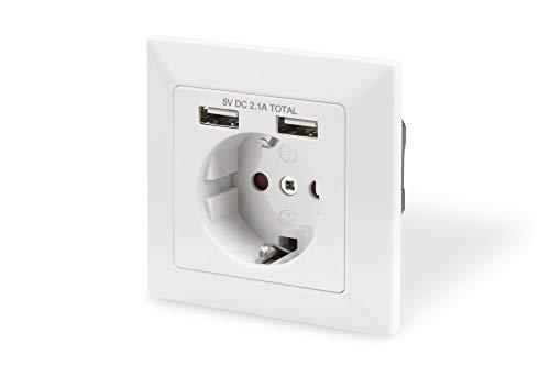 DIGITUS Unterputz-Steckdose mit USB Ladegerät - 2 Buchsen - 5V / 2,1A Gesamt - Reinweiß RAL 9003 - Bis 250V 50Hz