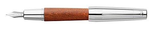 Faber-Castell 148203 Pluma estilográfica e-motion cromado marrón coñac, plumin B amplio