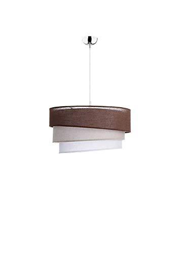 Braune Pendelleuchte Textil Schirm rund Ø45cm Modern stylisch Wohnzimmer Schlafzimmer Lampe