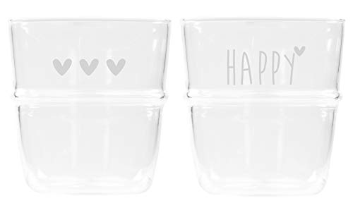 Bastion Collections Glas Set 2tlg. Hearts & Happy Glas klar Weiss Bedruckt