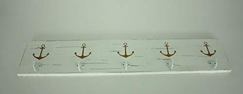 Enter-Deal-Berlin Holz Wand-Garderobe Anker 5 Haken 78x16 cm weiß Gold rustikal