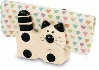 Serviettenhalter Weiß Keramik (Katze aus Keramik schwarz weiß Briefhalter oder Serviettenhalter Katzenliebhaber Geschenk)