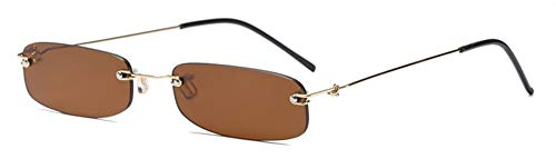 Sonnenbrille Schmale Sonnenbrille Für Männer Gold Metall Gestell Schwarz Kleines Rechteck Randlose Sun Gold Mit Braunen Gläsern Frauen Zubehör