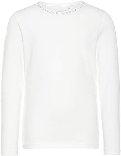 NAME IT Mädchen Langarmshirt festlich unifabren NKFSPILISSIMO, Farbe:Bright White, Größe:122-128