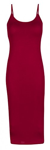 Capri Moda - Femme Robe mi-longue moulante fourreau bretelles - basique - SUNNY Cramoisi