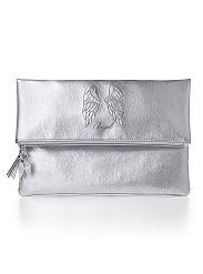 Victorias Secret Supermodel Case Bag Purse Foldover Silver Angel Clutch