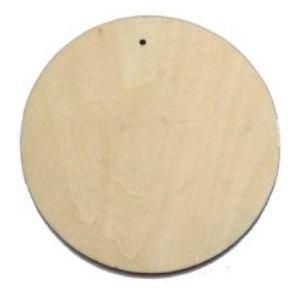 10 x in legno di forma circolare, in legno, con foro per etichette, beige, 100 mm