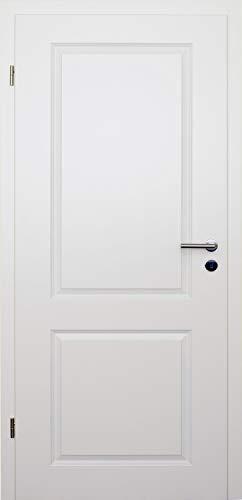 HORI® Zimmertür Komplettset mit Zarge und Türdrücker I Innentür weiß lackiert mit zwei Füllungen I Höhe 198,5 cm I Anschlag, Breite und Wandstärke wählbar I DIN links I 1985 x 985 x 140 mm
