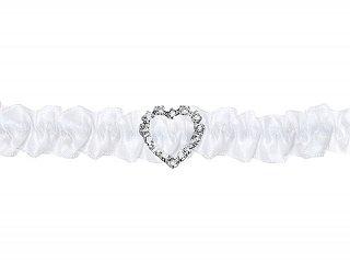 Strumpfband weiß mit kleinem Strass-Herz | Braut Hochzeit