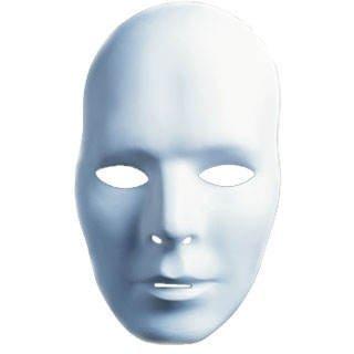 weiße Maske, unbemalt (Kunststoff-maske Für Erwachsene)