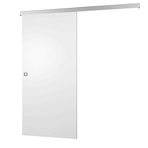 inova weiße Design Holzschiebetür 755 x 2035 mm Aluminium Komplettset mit Lauf-Schiene und quadratischer Griff