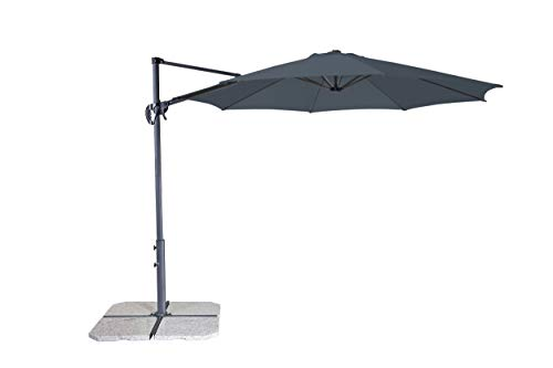 Derby Ravenna Smart 300 - Hochwertiger Ampelschirm ideal für Garten und Terrasse - Neigbar - ca. 300cm - Anthrazit