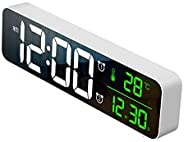 Large digital clock display, 10-inch oversized LED alarm clock electronic clock mirror, with snooze function,