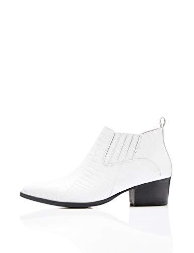 find. Croc Embellished Leather Stiefeletten Weiß White, 40 EU