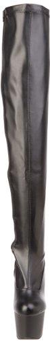 Pleaser Adore-3000, Bottes non doublées arrivant au dessus du genou femme Noir (Blk Str Faux Leather/Blk Matte)