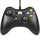 Xbox 360Spiel Controller, unionlike USB Wired Gamepad, Joypad mit Schultern Tasten, für Microsoft Xbox 360/Xbox 360Slim/PC Windows 7 Schwarz Schwarz