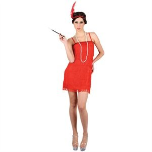 1920s Charleston Flapper Girl Red Fancy Dress Costume S