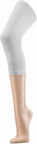 Damen Capri Leggings aus Baumwolle - Blickdicht Farbe Weiß Größe L/XL (Baumwolle Capris)