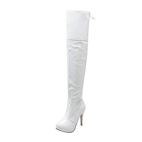 fffceeb4fdbbd5 Y2Y Studio Femmes Bottes Plateforme Cuissardes Vernis à Talons Aiguilles  Sexy 11cm Bout Rond Lacets Fermeture