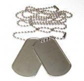 2er Set US Army Erkennungsmarke mit Ketten Hundemarke Dog Tag Farben: Schwarz, Silber oder Gold (Silber)