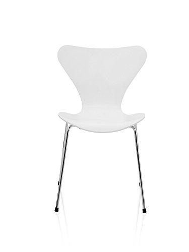 Fritz Hansen - Serie Sieben 3107 - Lack - lackiert weiss - Arne Jacobsen - Design - Esszimmerstuhl - Küchenstuhl - Speisezimmerstuhl -