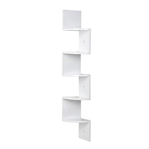 ackregal Hängeregal Büroregal Bücherregal Raumteiler Wandablage Wandboard 5 Regalböden weiß hochglänzend Belastbarkeit bis ca.15kg 20x20x123cm ()
