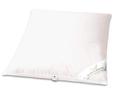 Klosterdorf Bettenmanufaktur Premium Kopfkissen \'\'Propper\'\' | 80x80 cm | 1300 Gramm | fest | Handarbeit aus Deutschland | Für einen gesunden Schlaf