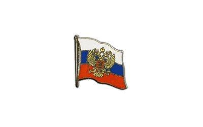 Flaggen-Pin / Anstecker Russland mit Wappen vergoldet