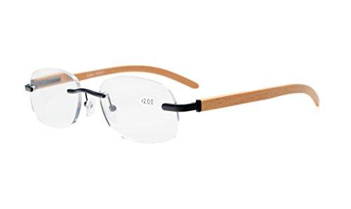 Eyekepper Readers Eyeglasses Men Women Spring Hinges Wood Temple Rimless Eyeglasses Schwarz