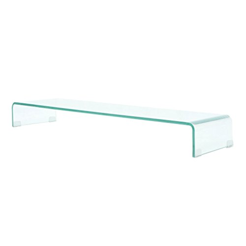 vidaXL TV-Tisch Aufsatz Monitor Erhöhung Glasbühne Podest Transparent 100x30x13