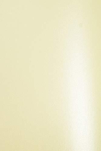 20 x Perlmutt-Creme 300g Karton DIN A4 210x297 mm Aster Metallic Crem glänzend schimmernd Pearlkarton Perlglanz-Bastel-Karton Perlmutt-Glanz für Hochzeitskarten, Einladungskarten, Visitenkarten