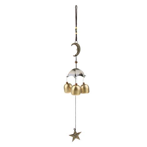 FLAMEER 12 Typ Chinesischen Stil Windspiel Kupfer Glocken Hausgarten Hängende Dekoration - Sonne und Mond (Hängende Sonne Dekoration)