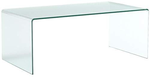 EGLEMTEK Tavolino Basso da Salotto Rettangolare in Vetro Temperato e Curvato Luxury Z-01-Design Curvo e Moderno, 110 x 43 x 60 cm