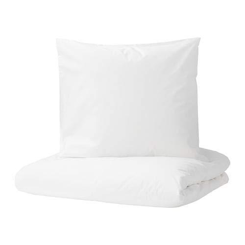 IKEA DVALA Bettwäscheset in weiß; 3tlg. (240x220cm und 80x80cm); Kopfkissen und Bettbezug 100% Baumwolle
