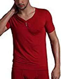 EDTara Men's Casual Solid Sleepwear Lounge Modal Short Sleeve V Neck Slim Top Shirt Pajama Wine Red Asia 2XL