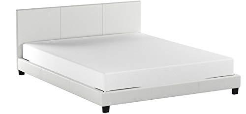 """Corium® Polsterbett \""""Barcelona\"""" mit Matratze - 160 x 200 cm - Weiß Kunstleder - mit Lattenrost"""