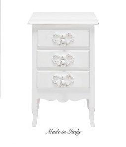 Comodino bianco a tre cassetti in legno stile vintage con pomelli a forma di fiocco L'ARTE DI NACCHI DS-63