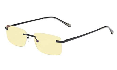 Schwarze Randlose Brillen (Eyekepper Blau Licht Blockierung Computer lesen Brille Randlos Gelb Getönt Linse Leser (Schwarz, 2.50))