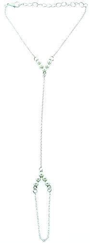Kostüm Indien Ideen Party - KIRALOVE Ring Silberfarbenes Armband Handgeschirr Geschenkidee Frauenmotiv Perlen Mädchen Bijoux Geburtstag Valentinstag Schmuck Weihnachten Kostüm Schmuck